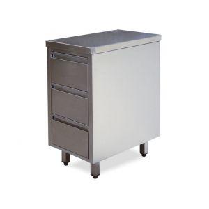 CA3001 Cassettiera in acciaio inox con 3 cassetti  40x60x85