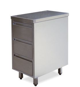 CA3002 Cassettiera in acciaio inox con 3 cassetti 40x70x85