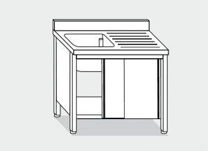 LT0999  Lavatoio su armadio con porte scorrevoli e alzatina in acciaio inox AISI 304 dim.cm. 80x60x85h