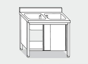LT1010 Lavatoio su Armadio in acciaio inox 2 vasche alzatina 130x60x85