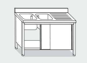 LT1043 Lavatoio su Armadio in acciaio inox 2 vasche 1 sgocciolatoio dx alzatina 190x70x85
