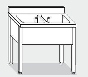 LT1099 Lavatoio su Gambe in acciaio inox 2 vasche alzatina 120x70x85