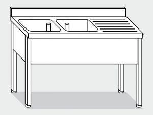 LT1103 Lavatoio su Gambe in acciaio inox 2 vasche 1 sgocciolatoio dx alzatina 160x70x85