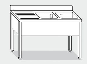 LT1108 Lavatoio su Gambe in acciaio inox 2 vasche 1 sgocciolatoio sx alzatina 160x70x85