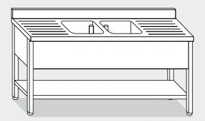 LT1143 Lavatoio su Gambe con ripiano in acciaio inox 2 vasche 2 sgocciolatoi alzatina ripiano 190x60x85