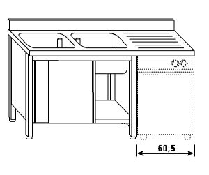 LT1184 Lavatoio su armadio per lavastoviglie 2 vasche 1 sgocciolatoio dx alzatina ante scorrevoli 200x60x85