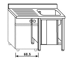 LT1189 Lavatoio su armadio per lavastoviglie 1 vasca 1 sgocciolatoio sx alzatina 140x70x85