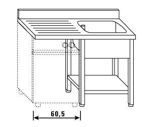 LT1198 Lavatoio su gambe e ripiano per lavastoviglie 1 vasca 1 sgocciolatoio sx alzatina ripiano 120x60x85