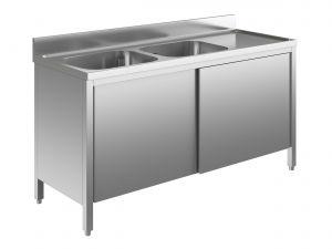 EU01611-18 lavatoio armadio ECO cm 180x60x85h  2 vasche e sg dx - porte scorrevoli