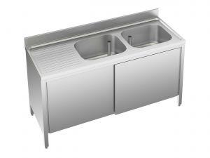 EU01612-20 lavatoio armadio ECO cm 200x60x85h  2 vasche e sg sx - porte scorrevoli