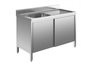 EU01701-10 lavatoio armadio ECO cm 100x70x85h  1 vasca e sg dx - porte scorrevoli