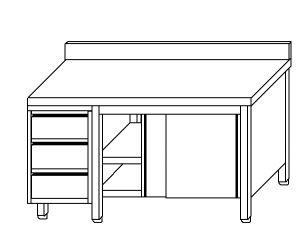 TA4063 Tavolo armadio in acciaio inox con porte su un lato, alzatina e cassettiera SX 170x60x85
