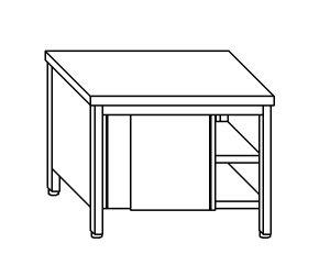 TA4077 Tavolo armadio in acciaio inox con porte su un lato 140x70x85