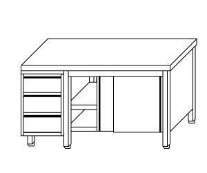 TA4095 Tavolo armadio in acciaio inox con porte su un lato e cassettiera SX 140x70x85
