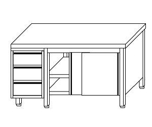 TA4101 Tavolo armadio in acciaio inox con porte su un lato e cassettiera SX 200x70x85