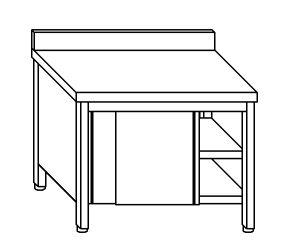 TA4108 Tavolo armadio in acciaio inox con porte su un lato con alzatina 100x70x85