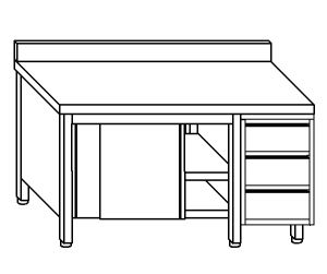 TA4126 Tavolo armadio in acciaio inox con porte su un lato, alzatina e cassettiera DX 210x70x85