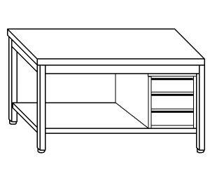 TL5066 Tavolo da lavoro in acciaio inox AISI 304 cassettiera dx ripiano 60x60x85