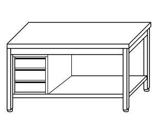 TL5095 Tavolo da lavoro in acciaio inox AISI 304 cassettiera sx ripiano 190x60x85