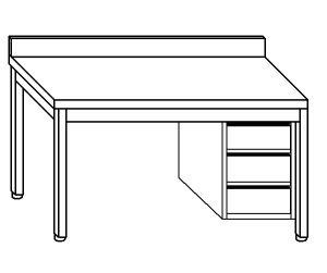 TL5123 Tavolo da lavoro in acciaio inox AISI 304 cassettiera dx alzatina 150x60x85