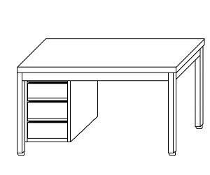 TL5142 Tavolo da lavoro in acciaio inox AISI 304 cassettiera sx alzatina 180x60x85