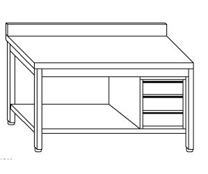 TL5164 Tavolo da lavoro in acciaio inox AISI 304 cassettiera dx alzatina ripiano 80x60x85