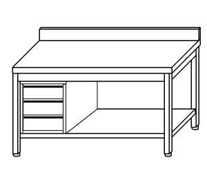 TL5179 Tavolo da lavoro in acciaio inox AISI 304 cassettiera sx alzatina ripiano 70x60x85