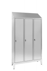 IN-694.00.430 3-door 3-seater Aisi 430 stainless steel dressing cabinet with dirty / clean partition Cm. 120X40X215H