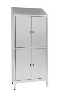 IN-694.06 Placard à plusieurs étages en acier inoxydable Aisi 304 4 portes 4 portes avec cloison sale / propre Cm. 95X40