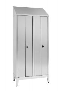 IN-694.08 2-seater locker room in stainless steel Aisi 304 with 4 doors Cm. 95X40X215H