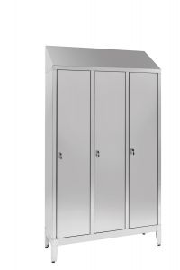 IN-S50.694.00.430 3-door 3-seater Aisi 430 stainless steel dressing cabinet with dirty / clean partition Cm. 120X50X215H