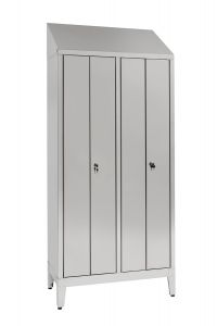IN-S50.694.08 2-seater locker room in stainless steel Aisi 304 with 4 doors Cm. 95X50X215H