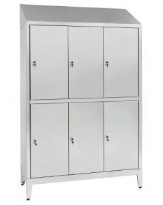 IN-S50.694.10.430 Armoire à plusieurs étages en acier inoxydable AISI 430 A 6 places à 6 portes chevauchées Cm. 120X50X2