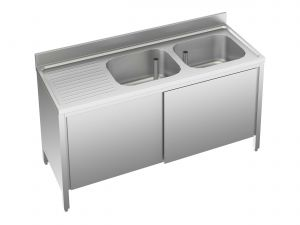 EU01712-16 lavatoio armadio ECO cm 160x70x85h  2 vasche e sg sx - porte scorrevoli
