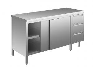 EU04001-17 tavolo armadio ECO cm 170x60x85h  piano liscio - porte scorr - cass 3c dx