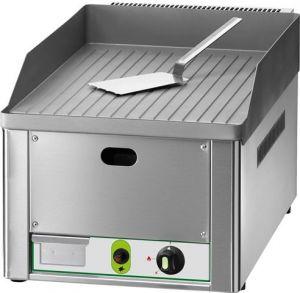 FRY1RM Fry top a gas da banco piano singolo rigato acciaio sabbiato