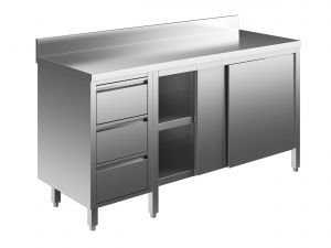 EU04004-20 tavolo armadio ECO cm 200x60x85h  piano alzatina - porte scorr - cass 3c sx