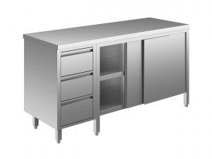 EU04102-16 tavolo armadio ECO cm 160x70x85h  piano liscio - porte scorr - cass 3c sx