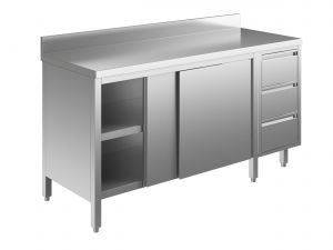 EU04103-18 tavolo armadio ECO cm 180x70x85h  piano alzatina - porte scorr - cass 3c dx