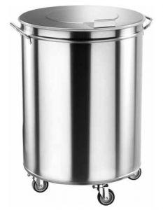 AV4669 Cubo de basura con ruedas cilindrico acero inox 100 litros