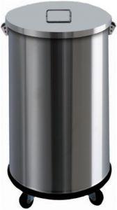 AV4671 Cubo de basura de acero inox con ruedas cilindrico 63 litros