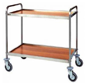 CA 1000 Stainless steel service trolley 2 wood veneer shelves 83x57x97h