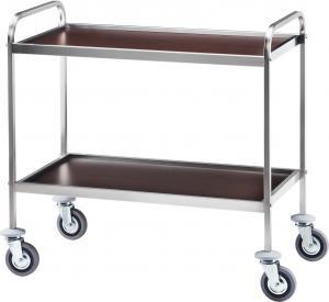 CA 1001W Stainless steel service trolley 2 wood veneer wenge shelves 103x57x97h