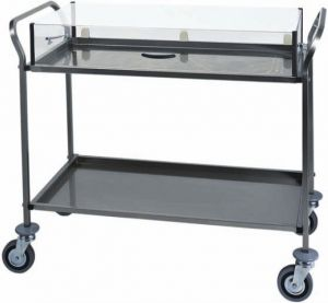 CA 1163 Stainless steel trolley for cakes cheese Plexiglass cover 3 shelves