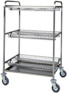 CA1399 Chariot égouttoir pour assiettes en acier inox 3 etages