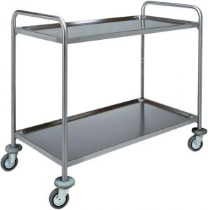 CA 1412 Stainless steel service trolley 2 shelves load 100 kg 100x70x94h