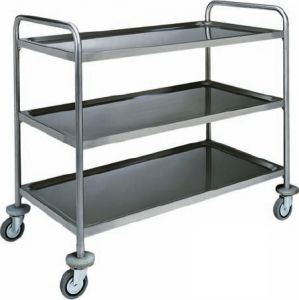 CA 1417 Stainless steel service trolley 3 shelves load 100 kg 128x70x104h
