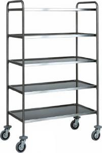 CA 1427 Stainless steel service trolley 5 shelves load 100 kg 110x60x170h