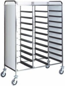 CA1470PW Stainless steel Tray-holder trolley for 30 trays wengé side panels