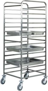 CA1476 Stainless steel GN pan trolley 14 GN2/1 28 GN1/1